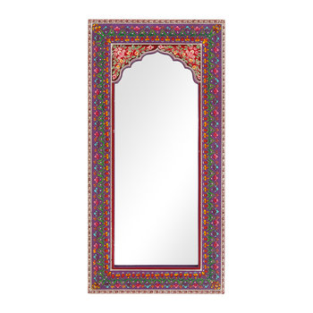 Mehendi Work Arched Wooden Mirror - Purple