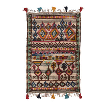 Hand Woven Printed Aztian Rug with Knotted Fringes - 120x180cm