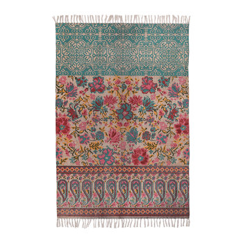 Floral Fusion Printed Stonewashed Rug - 120x180cm