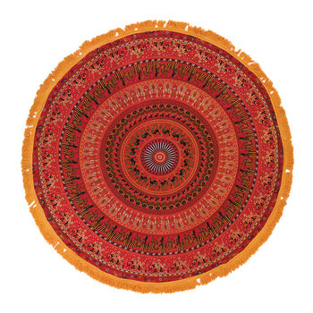Mandala Round Throw with Tassel Trim - Red/Yellow