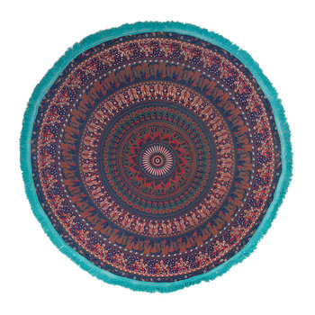 Mandala Round Throw with Tassel Trim - Blue/Turquoise