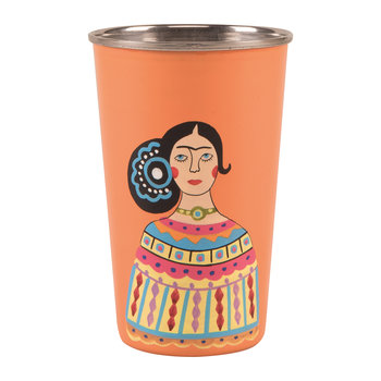 Frida Khalo Stainless Steel Tumbler - Orange