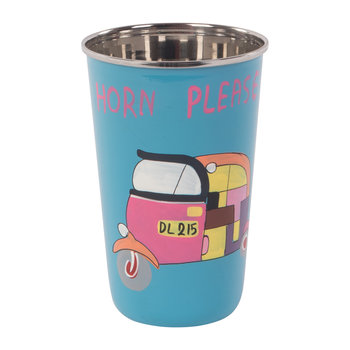 Hand Painted Rickshaw Stainless Steel Tumbler - Blue