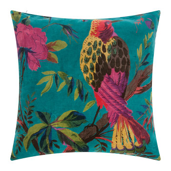 Bird of Paradise Velvet Cushion Cover - 45x45cm - Blue