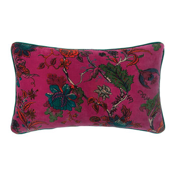 Orchid Floral Velvet Cushion Cover - Purple - 60x35cm