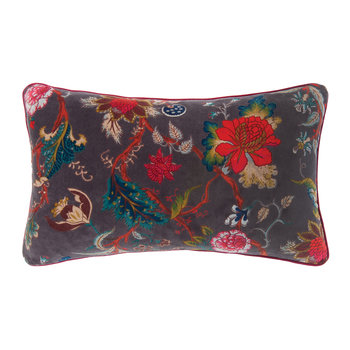 Plum Floral Velvet Cushion Cover - 60x35cm - Black