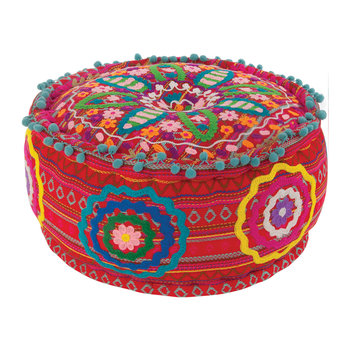 Orozco Embroidered Pouf