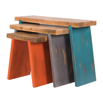Painted Wooden Stools - Set of 3