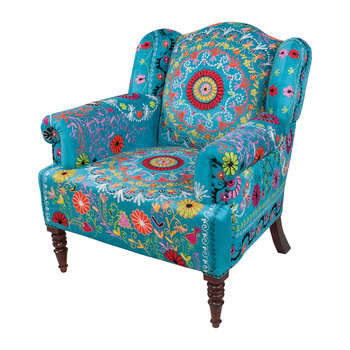 Eliya Embroidered Velvet Chair - Blue