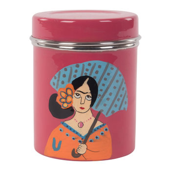 Hand Painted Frida Kahlo Stainless Steel Canister - Pink