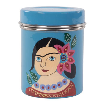 Hand Painted Frida Kahlo Stainless Steel Canister - Blue