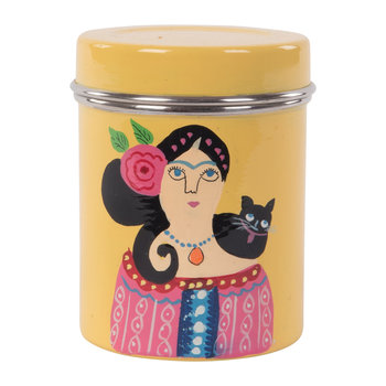Hand Painted Frida Kahlo Stainless Steel Canister - Yellow