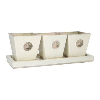 Tapered Herb Pot and Tray - Set of 3 - Ivory