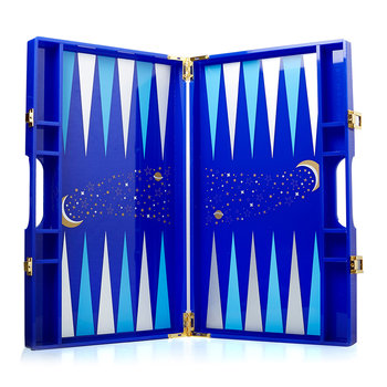 Lackiertes Backgammon-Set - Blau