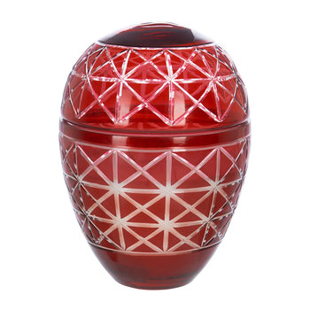 Cut Glass Large Scented Candle - Red