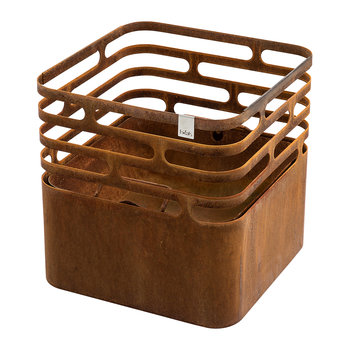 Cube Fire Basket - Rusty