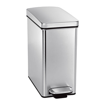 Rectangular Pedal Bin - Brushed Steel - 10L