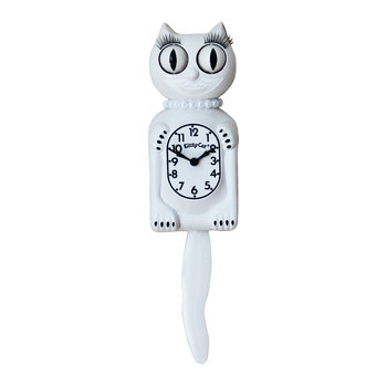 Kitty-Cat Pearls Wall Clock - White