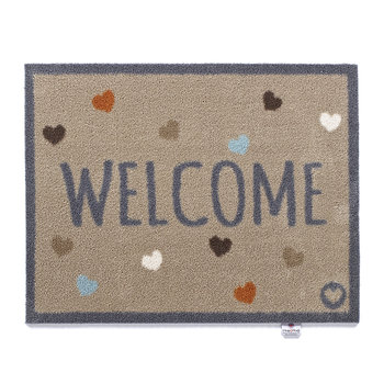 Washable Recycled Door Mat - Welcome/Hearts - 65x85cm