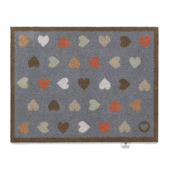 Hearts Washable Recycled Door Mat - Navy