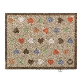Hearts Washable Recycled Door Mat - Beige