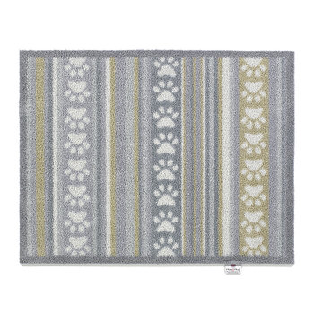 Paws/Stripe Washable Recycled Door Mat - Grey - 65x85cm