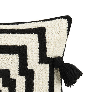 Hypnotic Pom Pom Cushion - 40x40cm - Black