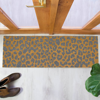 Leopard Print Patio Doormat - Gray
