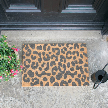 Leopard Door Mat - Grey