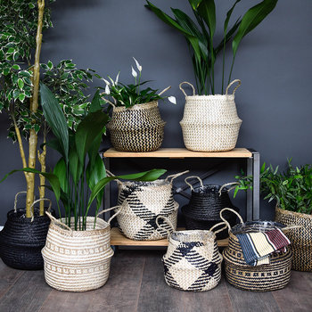Seagrass Lined Basket Planter - White