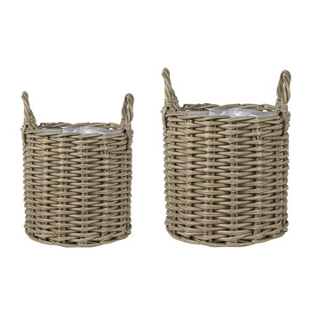 Polyrattan Planter - Set of 2 - Natural