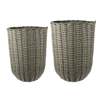 Polyrattan Tall Planter - Set of 2 - Grey