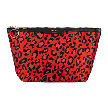 Red Leopard Satin Cosmetic Bag