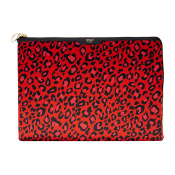 Red Leopard Satin-Laptophülle - 13 Zoll