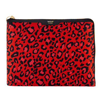 Red Leopard Satin Ipad Case