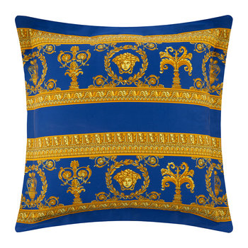 Barocco&Robe Double Face Reversible Cushion - Black/Gold/Blue