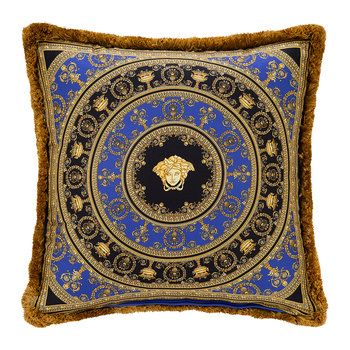 I Love Baroque Silk Pillow - 50x50cm - Gold/Blue/Black