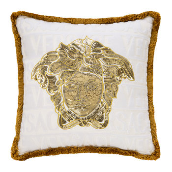 LogoMania Cushion - 45cm x 45cm - White/Gold