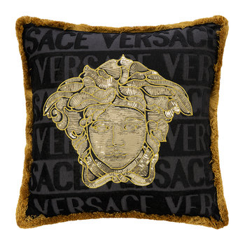 Medusa Logo Cushion - 45cm x 45cm - Black/Gold/Bronze