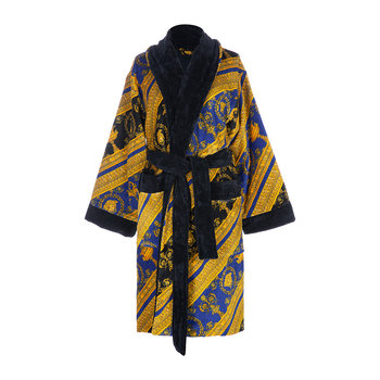 I Love Baroque Bathrobe - Black/Blue/Gold