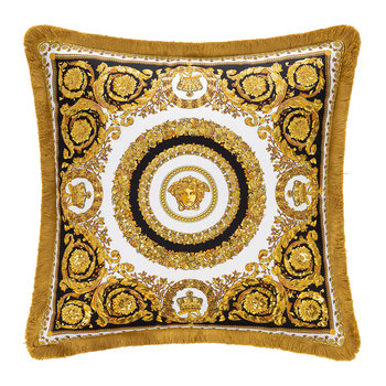 Crete De Fleur Cushion - Black/Gold/White