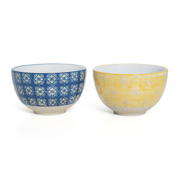 Cereal Bowl - Set of 2 - Blue Mosaic/Yellow Lace