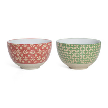 Cereal Bowl - Set of 2 - Red Flower/Green Diamond
