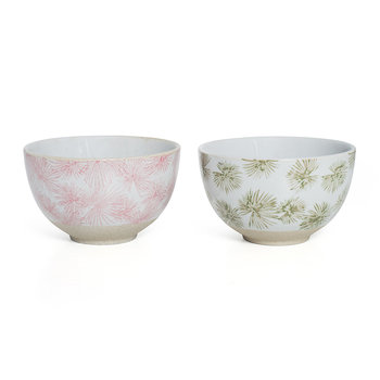 Palm Cereal Bowl - Set of 2 - Green/Pink