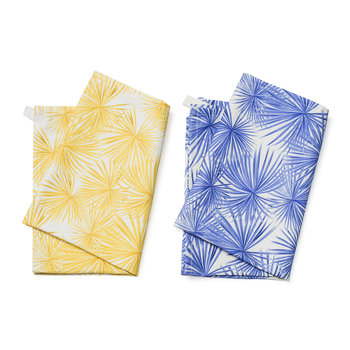 Palm Tea Towel - Set of 2 - Blue/Yellow