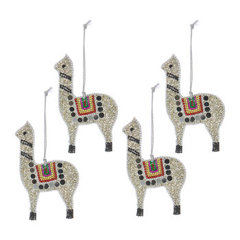 Glitter Lama Tree Decoration - Set of 4 - Silver