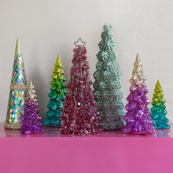 Sequin Star Cone Ornament - Pink
