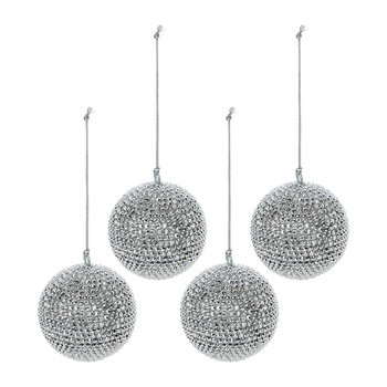 Diamond Bauble - Set of 4 - Silver
