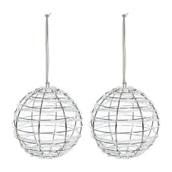 Beaded Wire Bauble - Set of 2 - White