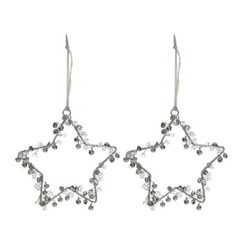 Beaded/Bells Star Decoration - Set of 2